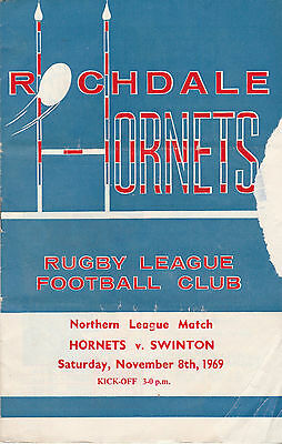 RUGBY PROGRAMME ROCHDALE HORNETS v SWINTON - NORTHERN LEAGUE MATCH NOVEMBER 1969