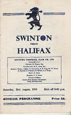 RUGBY PROGRAMME SWINTON v HALIFAX - 31ST AUGUST 1963