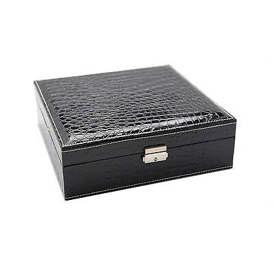 Jewellery Box black faux leather storage display case ring organiser velvet