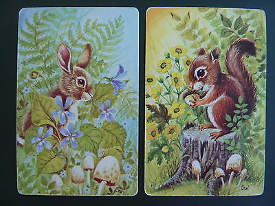 Animals SQUIRREL BUNNY BY CHRI PR SINGLE GENUINE VINTAGE Swap Playing Cards
