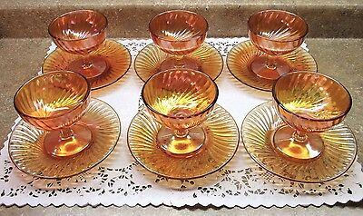 Vtg Wedding Party 6 Sets  Marigold Footed Fruit Ice Cream Dessert Cups Saucers