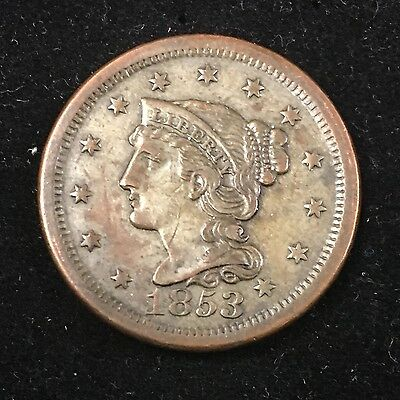 1853 Large Cent 1c Braided Hair Cent Early Copper US Coin #5150