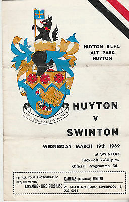 RUGBY PROGRAMME - HUYTON v SWINTON - 19TH MARCH 1969