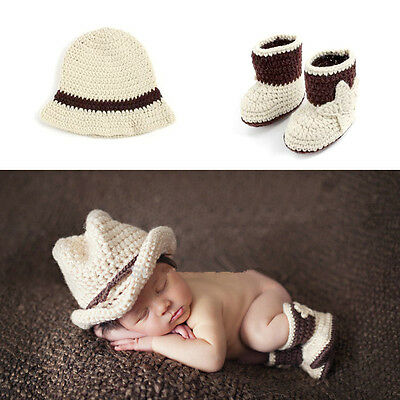 Baby Photography Props Cowboy Hat Shoes Crochet Costume Knitted Newborn Costume
