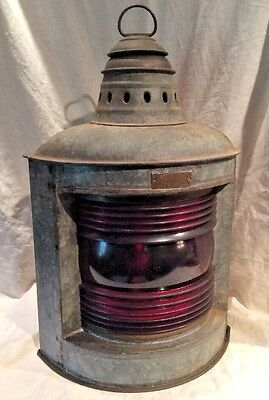 "Vintage 15 1/2"" Tall Perko Ship's Lantern With Red Globe Kerosene Burner"