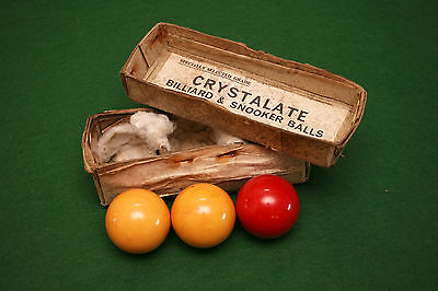 Antique c1920 British Made Crystalate Billiard Balls, Bennett & Stevens London