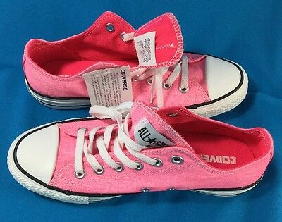 Converse Chuck Taylor Neon Pink All Star Low Top Sneakers Canvas Women Size 8