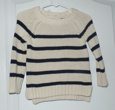 Baby Gap Girls Sweater Cream Navy Stripes Small Bow Size 12-18 Months