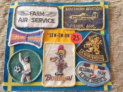 Vintage Vending Machine Display Card Sew Em On Patches Bowineal Farm Air Service