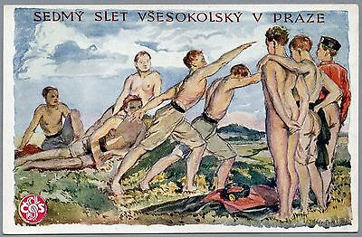 #16 1920 SOKOL VII Games, CZECH, Shirtless Men, Vintage Gay Int Postcard