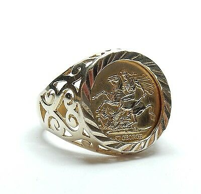Vintage Gold On 925 Sterling Silver St George & The Dragon Coin Ring 5.1g UK O
