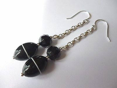 Antique Carved Whitby Jet & Banded Glass Sterling Silver Dangle Drop Earrings