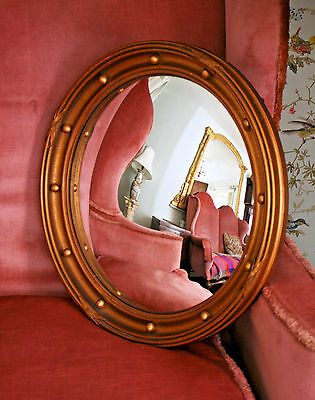 A Fine & Large Antique Edwardian Gilded Butler's Convex Mirror