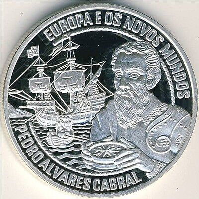 "start 1 $ PORTUGAL 25 ECU 1996 SILVER PROOF ""Pedro Alvares Cabral """