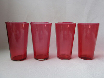 4 Antique Cranberry Glass Tumblers 1/2 Size, VGC