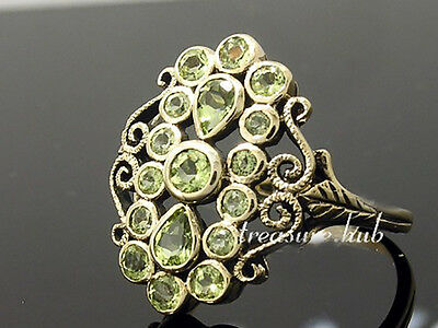 C711 Genuine 9K Solid Yellow Gold Natural Peridot Oblong Cluster Ring size N