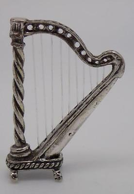 Vintage Solid Silver Harp Miniature - Stamped - Made in Italy - Dollhouse