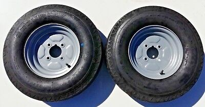 """2 Off 500 X 10 6 Ply  4 Stud 4"""" Pcd  Trailer Wheels And Tyres -  New Items"""