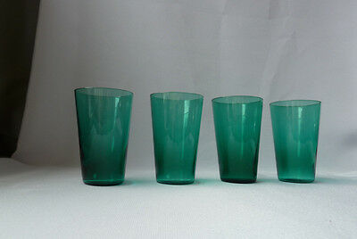 4 Antique Teal Green Glass Tumblers 1/2 Size, VGC