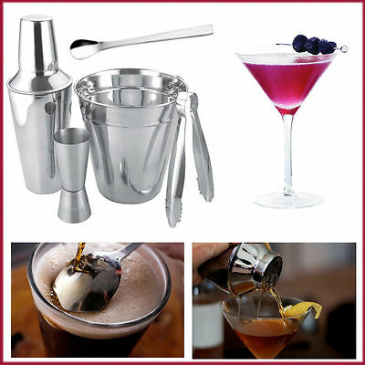 Bartender Cocktail Shaker Set Bar Drink Maker Mixer Stainless Steel with Recipes