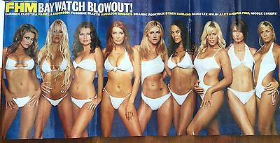 2003 Pullout 2 Side Poster Baywatch Girls Pam Anderson Carmen Electra Gena Nolin