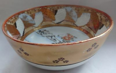 Meji Period Japanese Kutani Bowl hand painted,scenic peacock design 19th C