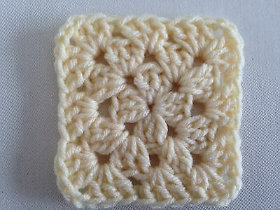 "20 4"" CREAM Hand Crocheted GRANNY SQUARES Afghan Yarn Throw Blanket Blocks"