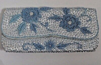 Vintage DeLill Blue Satin Beaded Purse Evening Clutch Hand Bag - with flaws