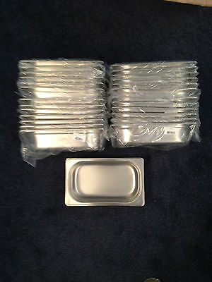 JOB LOT 25 STAINLESS STEEL 1/4 GASTRONORM PAN 65mmDEEP 265mm LENGTH 160mmWIDTH