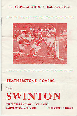 RUGBY PROGRAMME FEATHERSTONE ROVERS v SWINTON -18TH APRIL 1970 - TOP 16 PLAY OFF