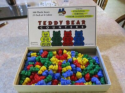 Vintage Media Materials 100 Plastic Teddy Bear Counters 4 colors w/box MINT