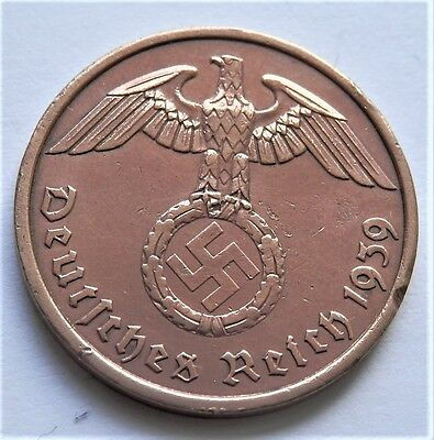 1939 Ww2 Original Nazi Germany Coin 2 Reichspfennig *a* Berlin Good Grade/2