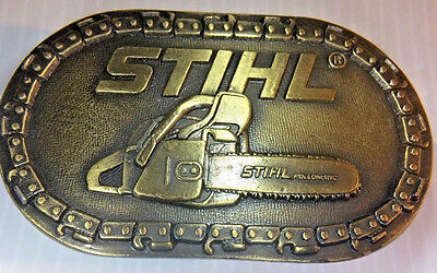 Vintage 1970s STIHL CHAINSAW & TOOLS COMPANY Belt Buckle Brass Tone