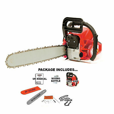 "Heavy Duty 20"" 52cc Petrol Chainsaw Saw Cutter With Cover 2.2kw FREE SPARE CHAIN"
