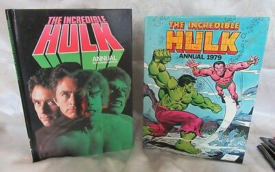 Incredible Hulk Annual x 2 1979 Authorised TV Bill Bixby Et Al & Marvel Stan Lee