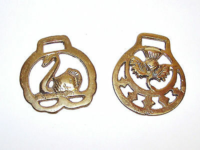 Two Vintage Horse Brasses, Swan and Scottish Thistle Designs