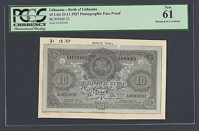 Lithuania, 10 litu 24-11-1927 P23s Photograph Face Proof  Uncirculated