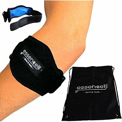 Tennis Golf Elbow Brace, Strap with Compression Pad by Essencell - bonus Bag