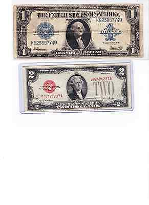 1923 $1 Silver Certificate horse blanket & 1928G $2 Red Seal lot of 2