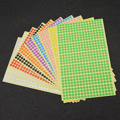 10 Colours 6mm Round Stickers Coloured Labels Circles Polka Dots Adhesive Sticky