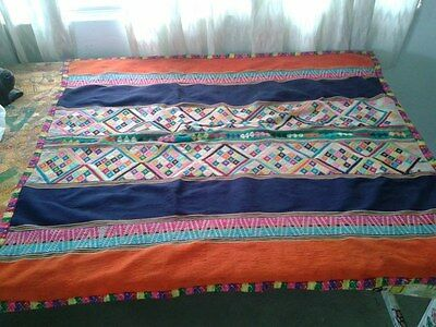 Peruvian Hand woven Aguayo Orange Table Cloth - Andean Mountain Textile