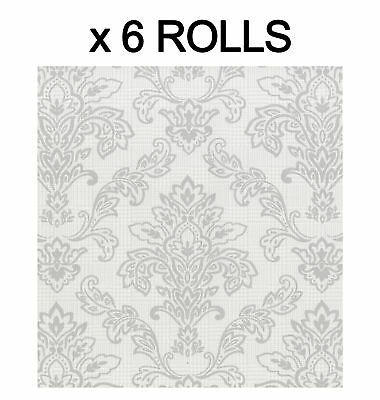 Silver Damask Wallpaper Modern Plaid Luxury Paste The Paper Washable 6 Rolls