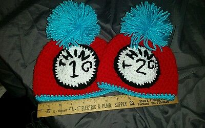 Crocheted thing 1 and thing 2 beanies 213
