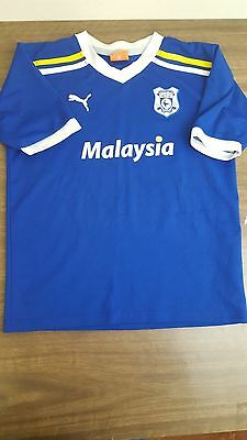 Cardiff City Fc Shirt 2011/12 Home Size Youth Large - Puma Blue