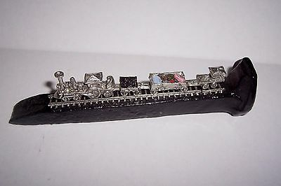 Railroad Spike Cast Pewter Train w/Gemstones Paperweight Figurine Collectible