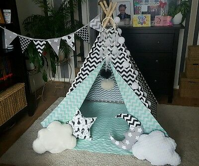 kids playroom childrens hand made teepee tipi wigwam tent with mat