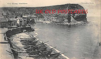 Yorkshire - STAITHES The Quay - Printed vintage picture postcard.