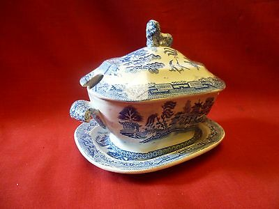 Staffordshire Blue and White Willow Square sauceTureen with Lid & under plate