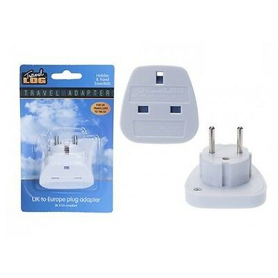 Mains Uk To Eu Euro Europe European Travel Adaptor Power Plug Convert 3 To 2 Pin