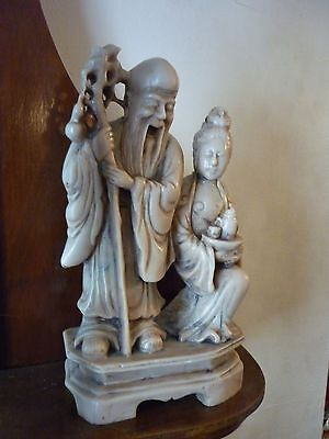 Good Chinese carved Soapstone multi  figure group Shou lao immortals